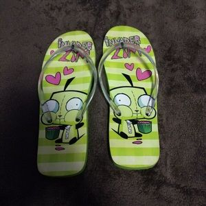 Green Invader Zim Gir Flip Flops